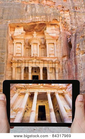 Taking Photo Of Treasury Monument Temple In Petra