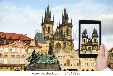 Tourist Taking Photo Of Church In Prague