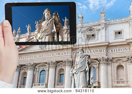Taking Photo Statue Of Apostle In Vatican