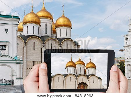Tourist Taking Photo Of Cathedral Of The Dormition