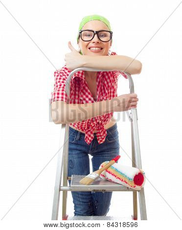 Woman With Thumbs Up, Isolated On White. Happy Female Worker Ready For Home Renovating