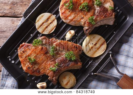 Grilled Pork Steak  In A Pan Grill Closeup, Horizontal Top View
