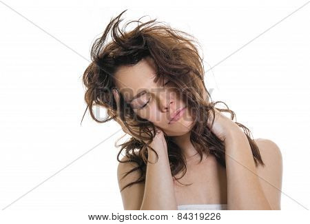 Sleepy Or Drowsy Young Girl, Isolated On White. Unkempt Tired Girl