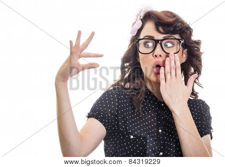Astonished Woman Showing With Her Fingers Something Small, Isolated On White