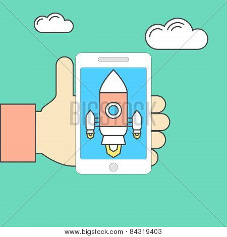 Smartphone In Hand With Spaceship