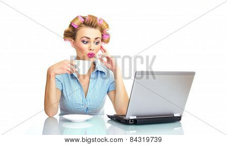 Serious Funny Business Woman With Laptop And Coffee, Close-up Isolated On White