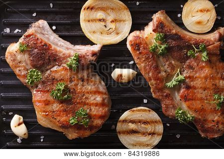 Two Juicy Grilled Pork Steak In A Pan Grill  Horizontal Top View
