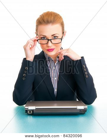 Portrait Of Attractive Business Woman With Laptop In Office, Isolated On White