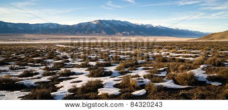 Snow Covered Sage Brush Mountain Landscape Surrounding Great Basin Nevada