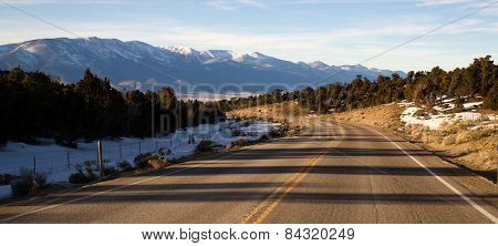 Mountain Landscape Surrounding Great Basin Nevada Highway Route 6