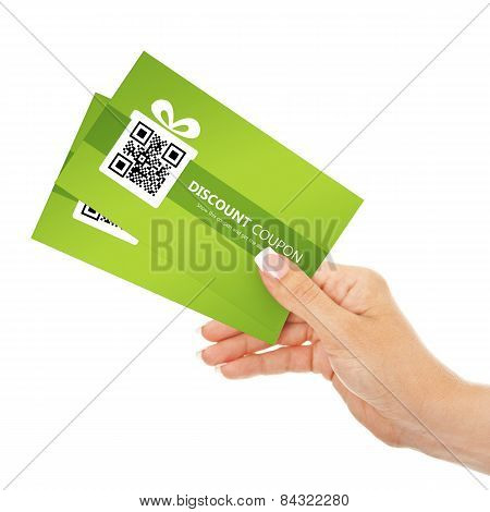 Hand Holding Spring Discount Coupons Isolated Over White