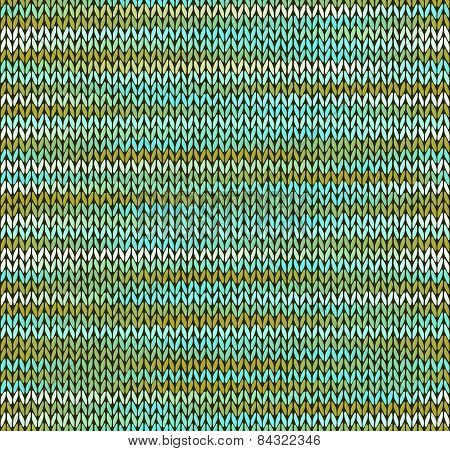 Style Seamless Knitted Pattern. Blue Green White Color Illustration From My Large Collection Of Samp