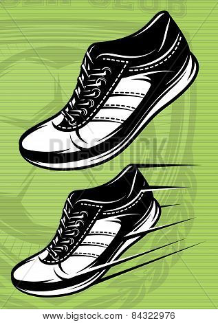 vector illustration with a set of running shoes on a green football field