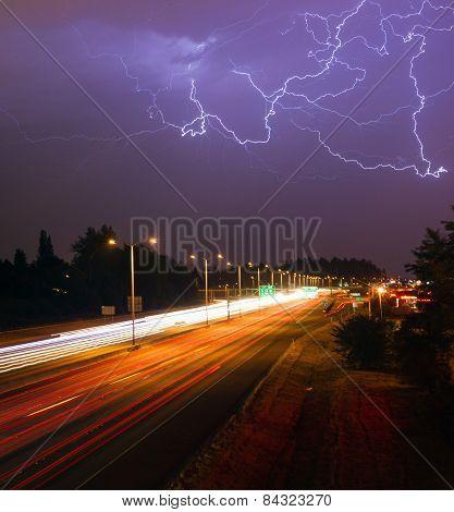 Thunderstorm Lightning Srikes Over Tacoma Washington I-5 Highway