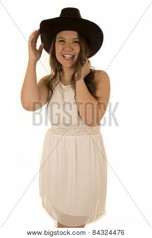 Cute Cowgirl Wearing A White Dress Smiling Happy