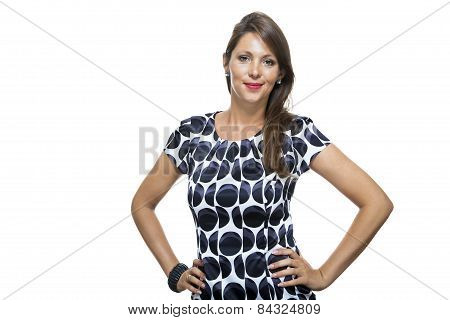 Smiling Lady In Elegant Dress With Hands On Waist
