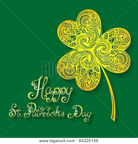 Vector Background for St. Patrick's Day, Leaf Clover with Inscription