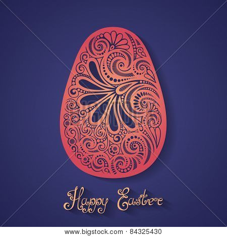 Vector Holiday Ornate Easter Egg with Inscription Happy Easter.