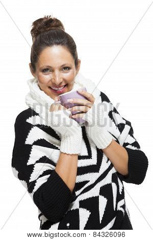 Cold Woman In An Elegant Black And White Outfit