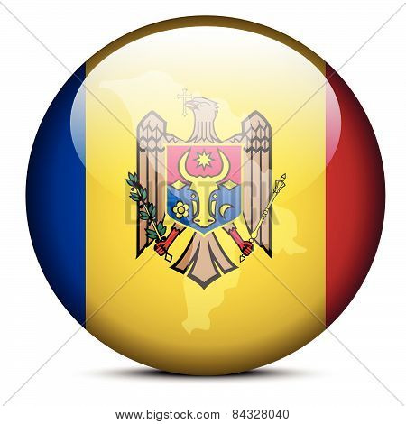 Map On Flag Button Of Republic  Moldova