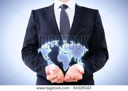 Businessman Holding Digital Map