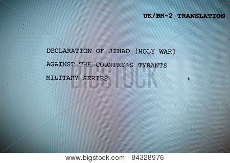 Wikileaks - Declaration Of Jihad - Holly War