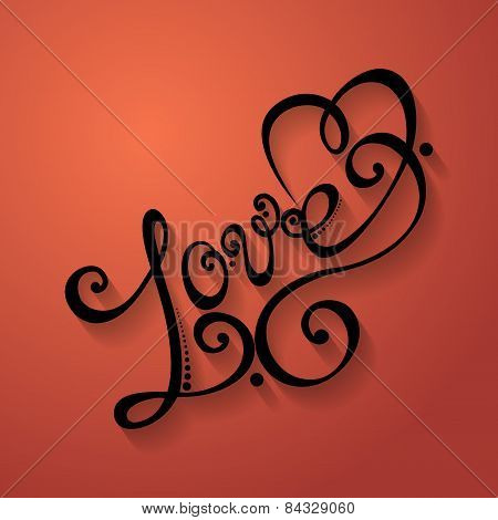 Vector Love Inscription, St. Valentine's Day Symbol