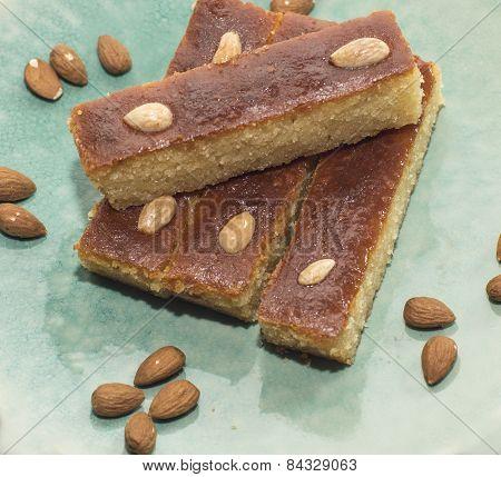 Traditional turkish pastry - bademli kek