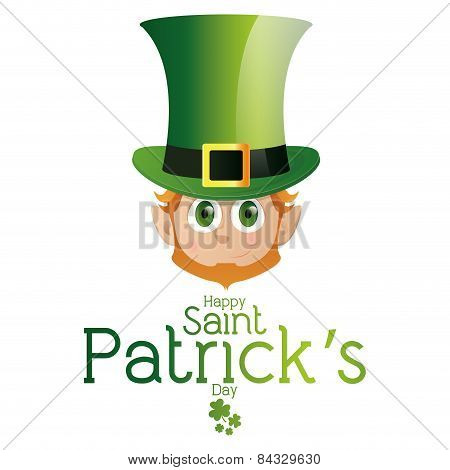 an isolated face of an irish elf and text for patrick's day