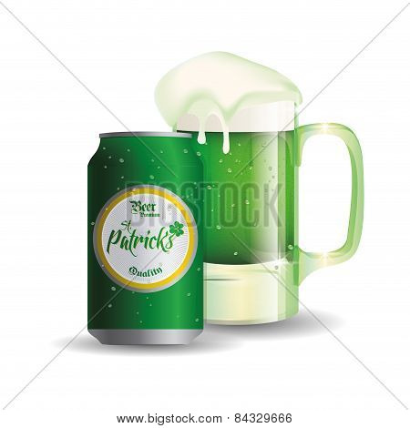 an isolated beer can and a beer glass for patrick's day