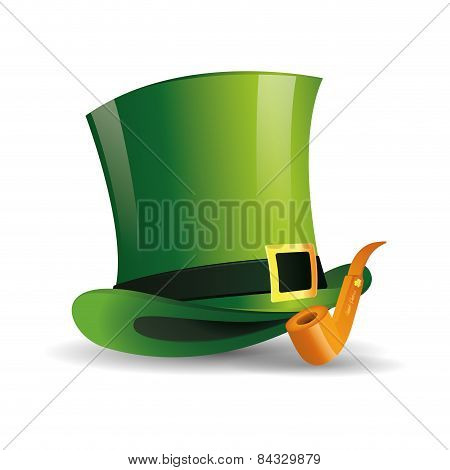 an isolated traditional hat and a smoke pipe for patrick's day
