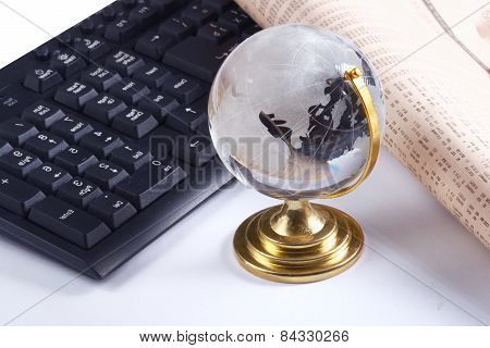 Background with laptop and globe