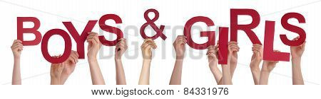People Hands Holding Red Word Boys Girls