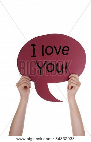 Red Speech Balloon With I Love You