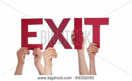 Many People Hands Holding Red Straight Word Exit