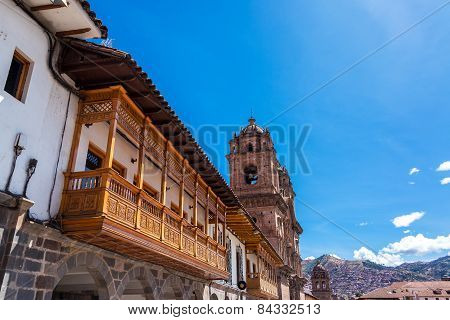 Balconies And Church In Cusco, Peru