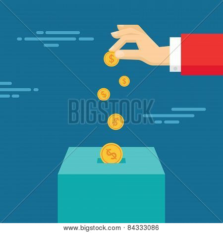 Human hand and money coins - vector concept illustration in flat style design. Money box.