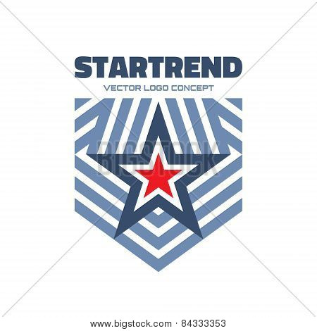 Startrend - vector logo concept illustration. Star and stripes vector logo. Star abstract logo.
