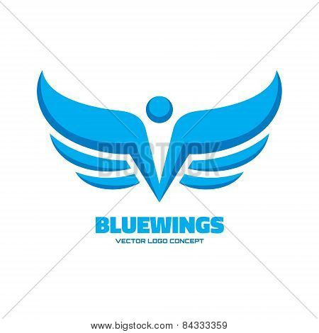 Blue wings - vector logo concept illustration. Design element.