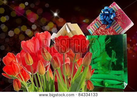 Beautiful Garden Fresh Red Tulips And Gift