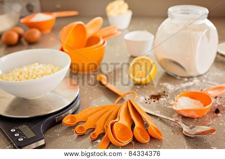 Kitchen Table With Backing Ingredient And Utensils