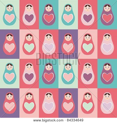 Seamless Pattern Pink, Purple, Orange, Teal Russian Dolls Matryoshka Background With Heart. Vector