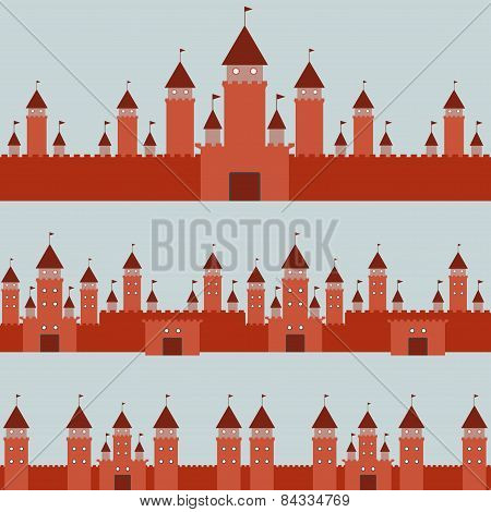Seamless Pattern  With Castle Princess Fairytale Landscape On Gray Background. Vector