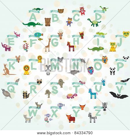Alphabet For Kids From A To Z. Set Of Funny Cartoon Animals Character. Zoo. Vector