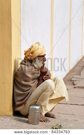 Indian Sadhu Sits On The Street In Vrindavan