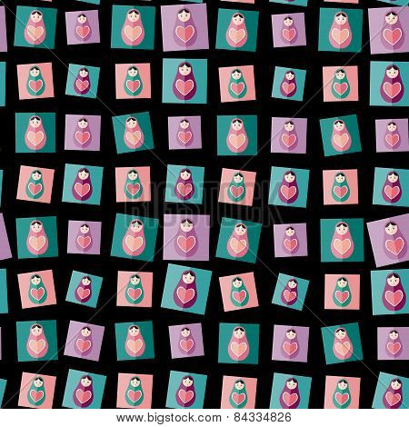 Seamless Pattern Pink, Purple, Orange, Teal Russian Dolls Matryoshka On Black Background. Vector