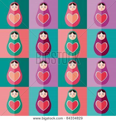 Seamless Pattern Pink, Purple, Orange, Teal Russian Dolls Matryoshka Background. Vector