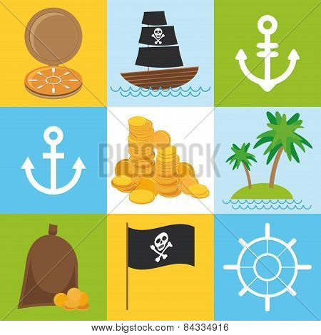 Scrap Nautical Card With Sea Objects Collection. Seamless Pattern. Vector