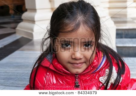 Indian Girl In Sri Krishna-balaram Temple