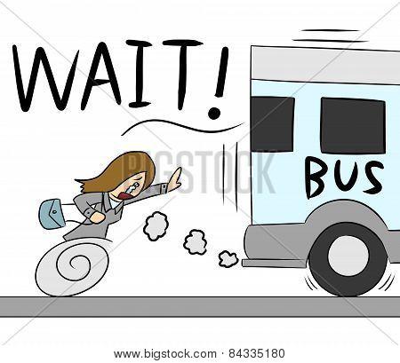 cartoon woman bus run